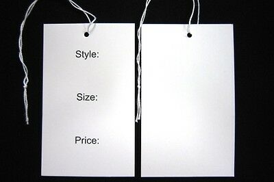 100 Swing /Hang Tags - White with Style/Price/Size Semi Gloss Card 55mm x 90mm