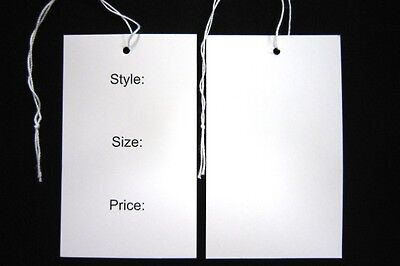 1000 Swing / Hang Tags, Printed Style/Price/Size Semi Gloss Card 55mm x 90mm