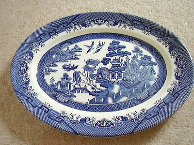 Churchill England porcelain blue and white oval dish,old willow
