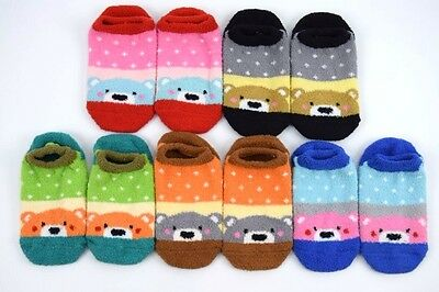Non-Slip Socks Warm Children Girls Slipper Fluffy Bed Short Thick Soft 1-12y