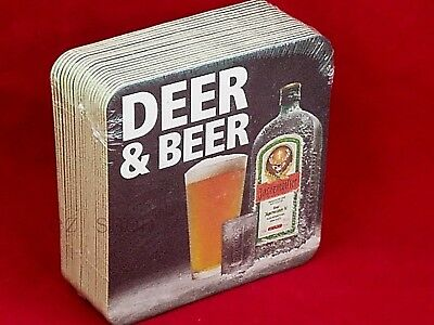 "Jagermeister 20 Count Coasters ""Deer & Beer"" Drink Cardboard Square Coaster NEW"