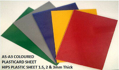 Coloured Plasticard High Impact Polystyrene HIPS A5 A4 A3 Thickness 1.5, 2, 3mm