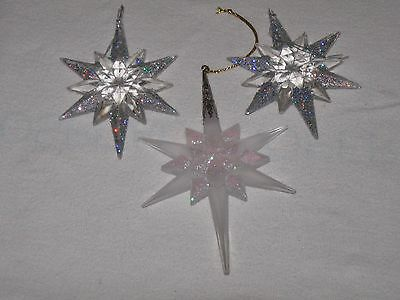 Lot Of 3 Vtg Frosted Plastic Bethleham Stars Glitter Accents Christmas Ornament