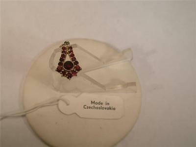 Bohemian Garnets Pendent / 16 Stones-Sterling Silver With 24K Gold Wash New