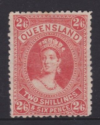 QUEENSLAND 1886 2/6 Vermillion Red QV CHALON MINT//MNG SG 158 CV$100  (CM34)