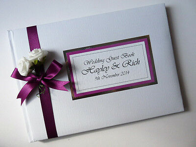 Personalised Wedding Guest Book With Roses (Berry) - Any Colour