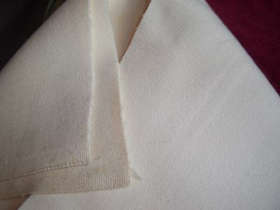 """Vtg Pure Wool Fabric 2 Piece Lot 2+ Y x 58"""" Solid Cream Heavy Coat Weight As Is"""