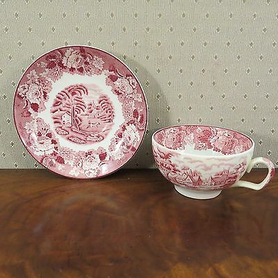 WOODS WARE ENOCH WOODS ENGLISH SCENERY Coffee Cup & Saucer, Red, Wood & Sons