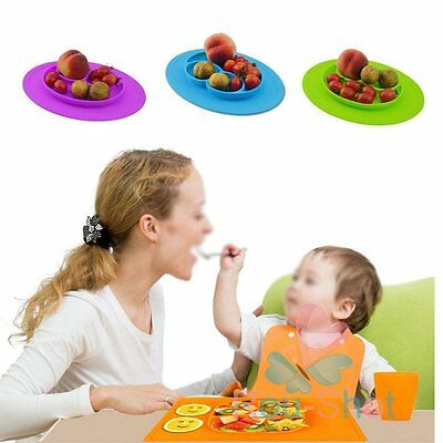 Baby Happy One-Piece Silicone Placemat Food Divided Plate Table Mat Toddler Kids
