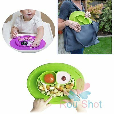 Baby One-Piece Silicone Placemat Food Divided Plate Table Mat Toddler Kids【AU】