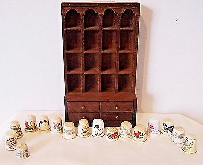 Vintage Enesco 1978 wooden thimble display mini hutch with 16 china thimbles