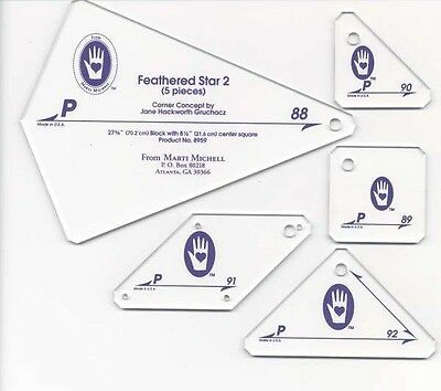 PERFECT PATCHWORK TEMPLATES SET P Feathered Star II, From Michell Marketing NEW