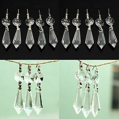10 Clear Chandelier Glass Crystals Lamp Prisms Parts Hanging Drops Pendants 38mm