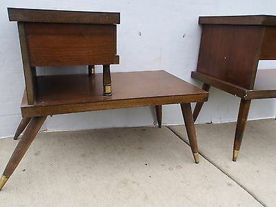 Pair Vintage Step Table Dovetailed Night Stand Drawer Mid Century Signed GREAT