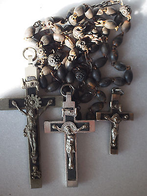 Antique 1800s France Priest Nun Carved Rosette Wood Bead Rosary~3 Crucifix Cross