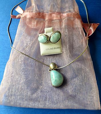Larimar Necklace and Earrings Sterling Silver Set