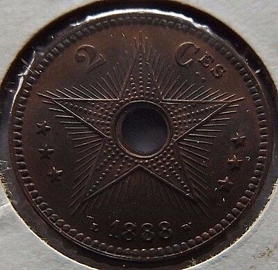1888 Belgium Congo Copper 2 Centimes! Uncirculated! Beauty! Km# 2 Unc $30! Rare!