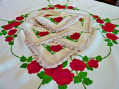 Antique linen tablecloth & 6 napkins HAND EMBROIDERED 1940s VINTAGE roses Aust.