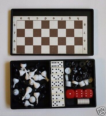 Vintage Ussr Ukraine Travel Pocket Magnetic Chess Checkers Domino Collectibles