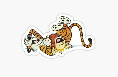 Calvin and Hobbes tiger comic hugs lazy SUnday Sticker decal car laptop cute