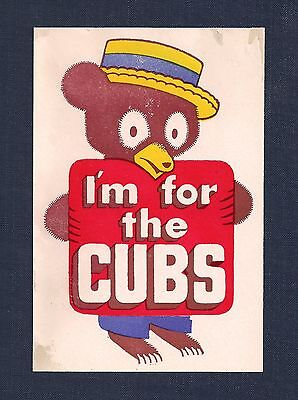 "Original 1940s Chicago Cubs ""I'm for the Cubs"" Vintage MLB Decal Sticker"