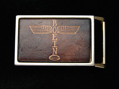 PL25125 VINTAGE 1970s **BOEING** AIRCRAFT COMPANY LEATHER BELT BUCKLE