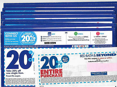 LOTS BED BATH & BEYOND (10) - 20% OFF ENTIRE PURCHASE (1) & 20% SINGLE item (9)