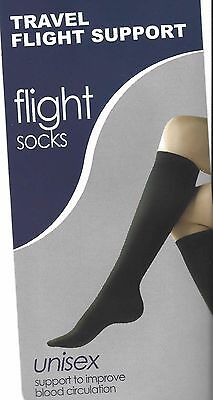 Black COMPRESSION SOCKS - NEW one size Travel & Flight Support 1 pair UNISEX dvt