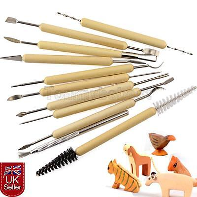 11X Polymer Clay Sculpting Carving Set Wood Model Art Projects Pottery Tools UK
