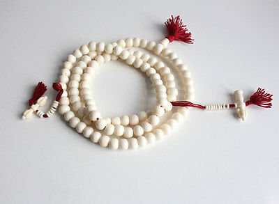 10mm White Bone 108 Prayer Mala with Bell and Dorjee Counter BPM02