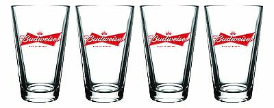Budweiser Pint Glass 4 Pack, Clear