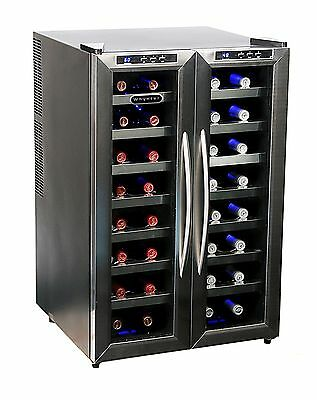 Whynter WC-321DD 32 Bottle Dual Temperature Zone Wine Cooler, Stainless Steel Tr