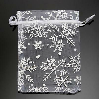 1-50Pcs Snowflake Candy Christmas Party  Wedding Favor Pouch Gift Organza Bags