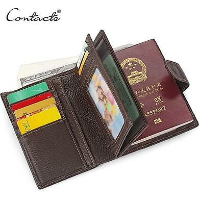 CONTACT'S Genuine Leather Men's Passport Holder Wallets Male Credit&Id Wallet