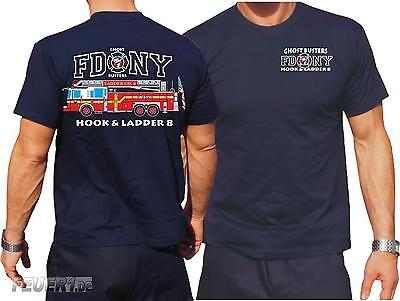 T-Shirt navy, FDNY Ladder Truck 8 - Ghost Busters, farbig