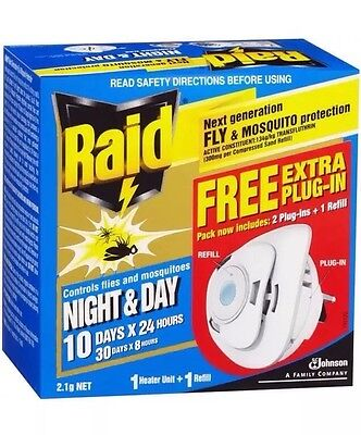 Raid Night And Day Mosquito Mozzie Insect Repellent With 2 Plug Ins And 1 Refill