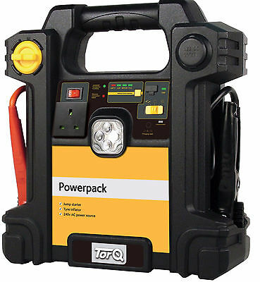 Torq 300 Amp Emergency Jump Starter Car Battery Power Booster With Compressor
