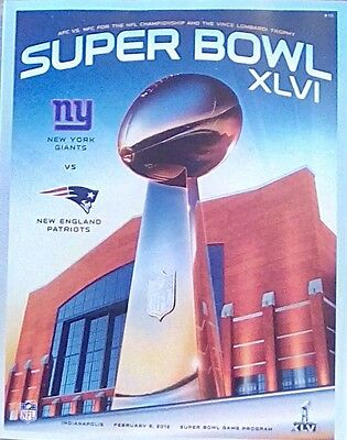 Super Bowl XLVI NFL New York Giants vs New England Patriots Official Programme
