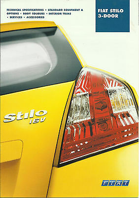FIAT STILO 2002 SPECIFICATIONS & ACCESSORIES BROCHURE Active Dynamic & Abarth