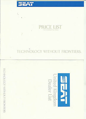 SEAT Prices 1985/6 A5 size 4 pages PLUS Seat Dealer list A5 size