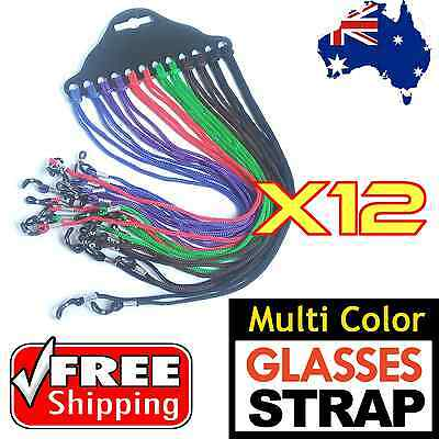 12 x Multi Color Nylon Glasses Strap Neck Cord Eyeglasses String Lanyard Holder