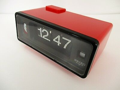 Vintage Seiko Red Battery Flip Clock with Alarm