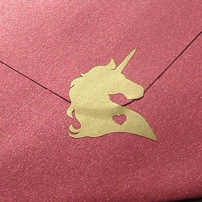 35 unicorn stickers, gold unicorn decals with heart