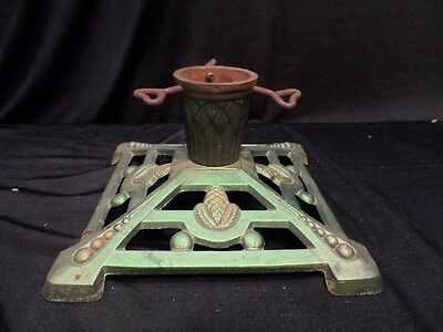 Pine Cone Motif Cast Iron Christmas Small or Feather Tree Stand - Heart Screws