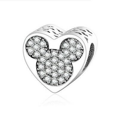 Sterling Silver EURO Charm Love Mickey Mouse CZ Pave  +FREE Pandora Cloth
