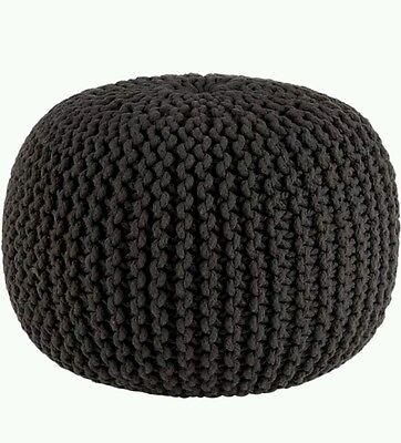 ^5% Chunky Braided Knitted Pouffe Footstool Cushion Tango Red Latte Black