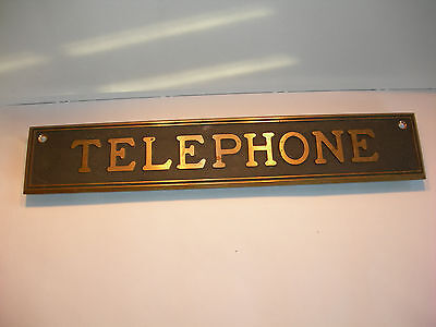 Neat Old Vintage Cast Bronze Telephone sign plaque