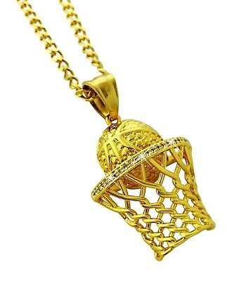 18k Gold Plated Basketball Hoop Pendant Stainless Steel Necklace