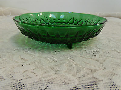 forest green bowl hobnial teardrop footed from anchor hocking