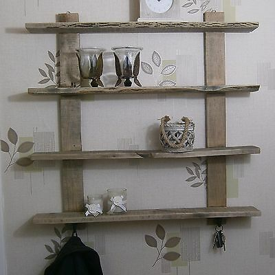 Country Industrial Rustic Recycled Pallet Solid Natural Wood 4 Shelf Wall Unit